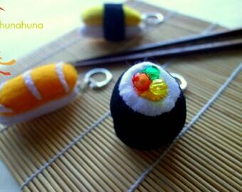 Keychain set with tamago sushi, salmon suhi and maki