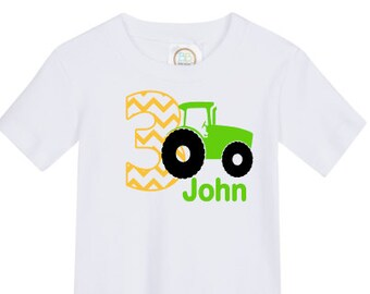 custom personalized boys birthday shirt tractor vinyl