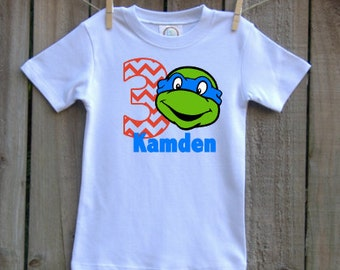 custom personalized boys birthday shirt turtle ninja vinyl