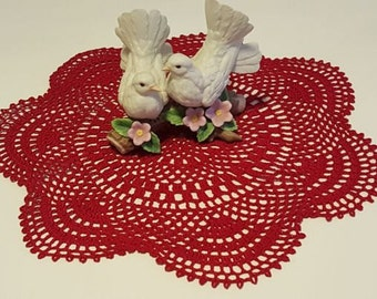 Handmade Crochet Doily, Home decor,  red handmade doily, crochet doily, wedding decor, crochet centerpiece, round doily, wedding table decor