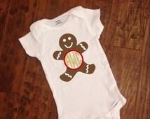 Gingerbread Monogram Christmas Infant Onesie