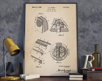 Shaving Machine Patent, Electric Shaving Razor, Patent Art Prin, Patent Poster, Bathroom Art, Men's Bathroom Wall Art  - DA0226