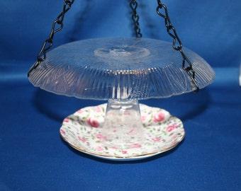 Hand Made Vintage Royal Albert Teacup Saucer, Glass Plate & Wine Glass Bird Feeder