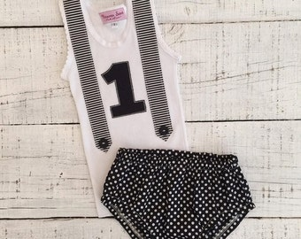 Heaven Sent Handmade baby singlet bloomers nappy cover boy first birthday outfit black white monochrome cake smash stripes dots
