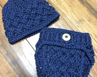Crochet Diagonal Weave Navy Diaper Cover and Beanie Set