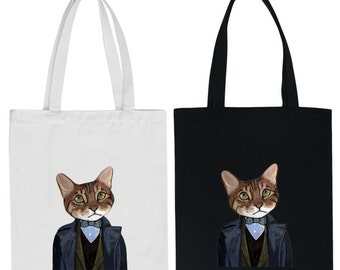 Free Shipping,Gentleman Cat Bag,Canvas Tote Bag,Printed Tote Bag,Market Bag,Cotton Tote Bag,Large Canvas Tote,Cat Tote Bag,Animal Bag