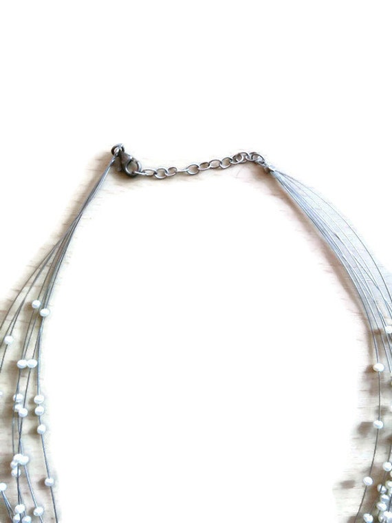 Boho multistrand white pearl necklace/ Boho pearl necklace/ Pearl necklace/ Boho necklace/ White pearl necklace/ Hippie pearl necklace