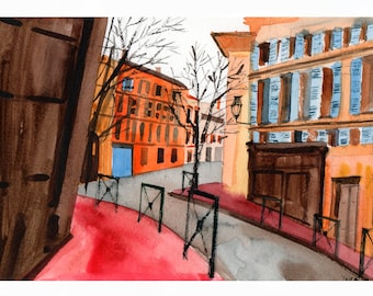 Architecture Print A4 View of Toulouse ( South of France). Carmes. Rue Bouquières.