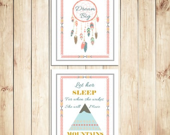 Set of 2 Dream Catcher 'Deam Big' and 'Let her Sleep' Prints