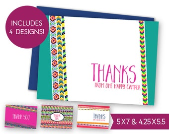 Last Day of Camp Printable Cards - Instant Download Summer Camp Thank You Note, Counselor Thanks - One Happy Camper - Best Summer S1381