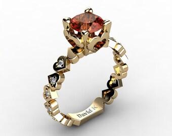 Soulmate 14K Yellow Gold 1.0 Ct Orange Sapphire Diamond Engagement Ring R1043-14KYGDOS