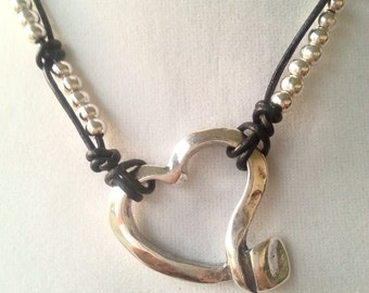 Leather Necklace Heart Uno de 50 Style Necklace, Leather Necklace Beads Zamak Pendant, Silver Beads Necklace, Button Clasp, Women Necklace