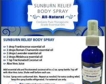 Sunburn relief body spray