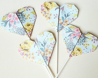 Vintage Floral Heart Cupcake Toppers