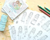 Paper Doll Friends MINI COLORING PAGES - Digital File- Instant Download- quiet activity, little girls, party favor, coloring book