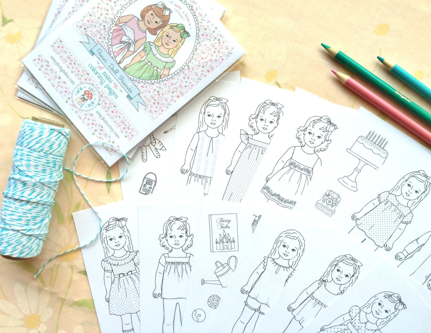 paper doll friends mini coloring pages digital file instant