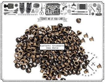 3MM Hole 200PCS TINY Antique Brass Grommets Eyelets Self Backing for Bead Cores, Clothes, Leather, Canvas