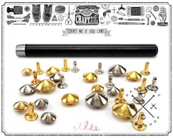Set of CONICAL Rivet SETTER Cone Snap Leather craft  tool - comes with 50PCS conical rivet studs