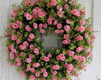Pink Tea Rose Wreath, Summer Wreath, Eucalyptus Wreath, Gorgeous Front Door Wreath, Pink Rose With a Hint of Peach