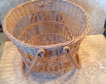 Open weave wicker basket