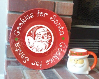 Santa's Cookies Plate and milk glass