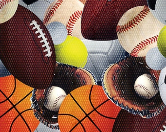Sports Novelty Fabric, All Sports, Football, Basketball, Baseball, by Benartex, 8366-99