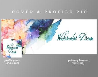 Timeline Cover + Profile Picture 'Watercolor Dream' Cover, Profile Picture, Branding, Web Banner, Blog Header | blue, water colour, art