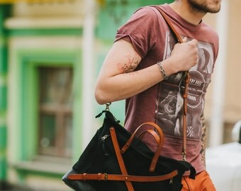 Waxed canvas and leather bag Cross body bag by Kruk Garagе Hand waxed canvas and leather men's bag Canvas tote bag Men's laptop bag
