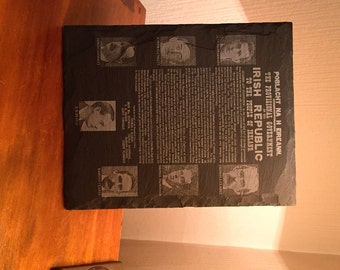 1916 Easter Rising Commemorative Proclamation Slate Plaque with images of signatories. In Customisable presentation Box. Handmade in Ireland