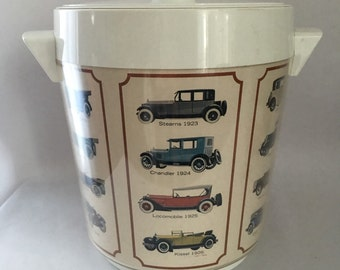 1960's Thermo-Serv Ice Bucket With Pictures of Vintage Cars, Barware, Mancave