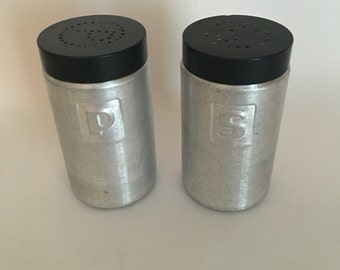Vintage 1950's Aluminum Salt and Pepper Shakers, Kitchen Decor, Cookware
