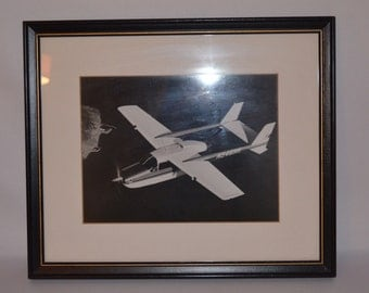 Airplane Framed Photograph Black and White