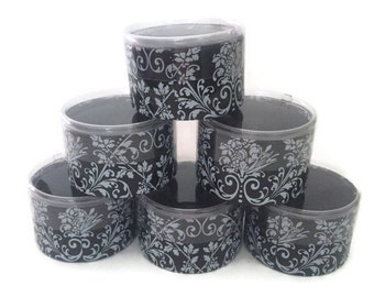 Black With White Damask Round Candy/Favor Box