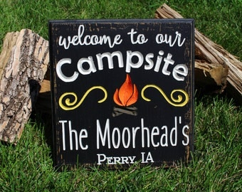 Welcome To Our Campsite Personalized Camping Sign Campsite site