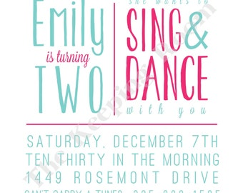Square Sing & Dance Birthday Invitation