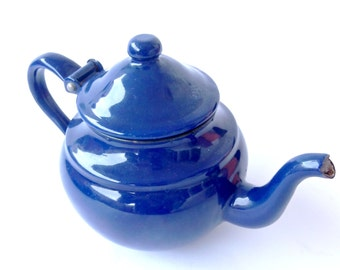Blue enamel teapot made in Yugoslavia