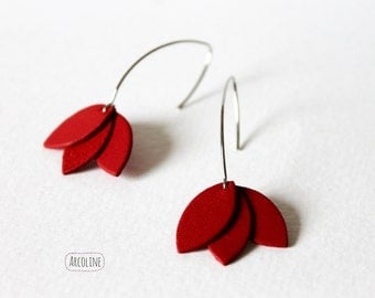 Petals red leather earrings