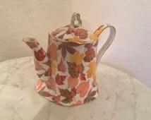 Vintage Royal Danube Teapot With Multicolor Autumn Leaves. Gold Trim.