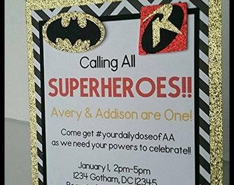 12 Glitter Batman Invitations, Batman and Robin Invitation, Twin Birthday Invitation, Baby Shower Invitation