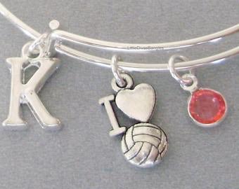 I LOVE Volleyball Bangle Bracelet  W/ A Birthstone / Initial Charm Drops / Under Twenty / Girls Sports Bracelet /  Gift For Her/ Usa  SP1
