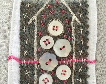 Embroidered linen lavender bag