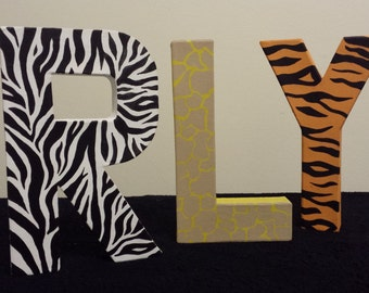 Freestanding letters, Nursery letters, Animal print, Wooden names, Zebra print, Bespoke gift, Personalised, Nursery decor, Jungle theme.