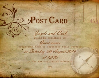 Olde worlde Postcard Wedding Invitation, pack of 50, personlised with guest names