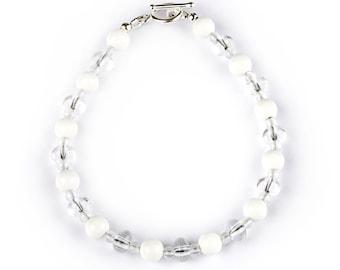 Light Bracelet - Odette - bracelet of Rock Crystal and white Agate