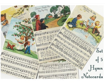 Children's Hymn Note cards, Set of 5, Christian Cards, hymn sheet music, Hymns Stationery, Thank you cards