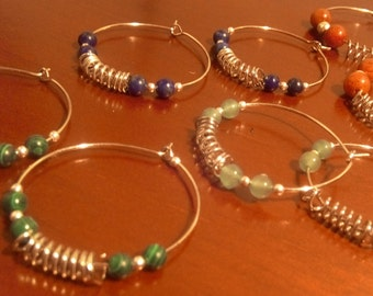 Earrings rings with small pearls and clear