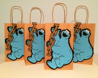 4 Cookie Monster thank you favor bags