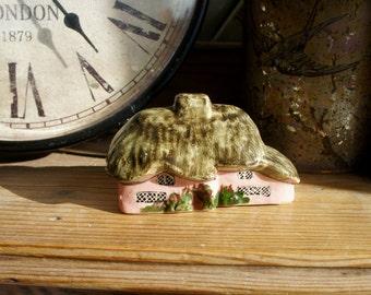Sweet Little Vintage English Pink Thatch Cottage Ceramic Ornament