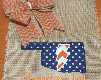 Oklahoma City OKC Thunder Basketball Applique Burlap Garden Flag, Thunder Up