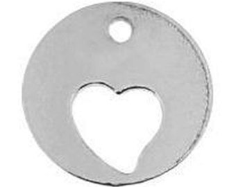Sterling silver 925 charm / pendant / tag with cutout heart, 9mm